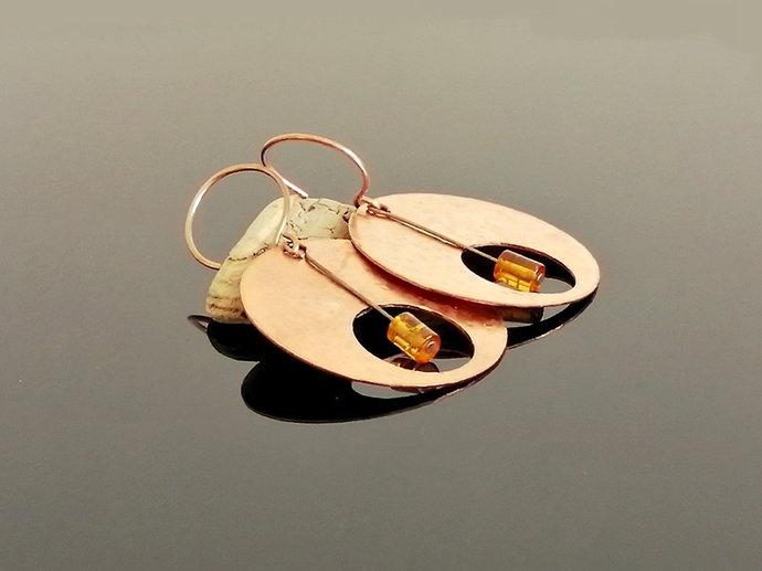 Boho earrings, amber earrings, hoop earrings, gypsy earrings, circle earrings,