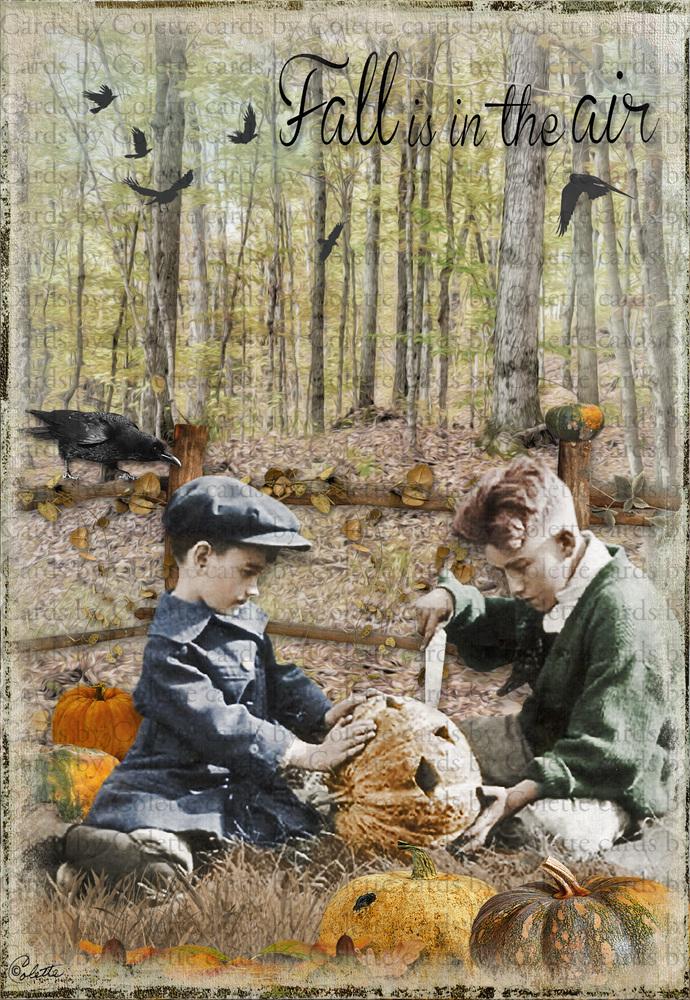 Halloween Boys Carving Pumpkins Digital Collage Greeting Card286