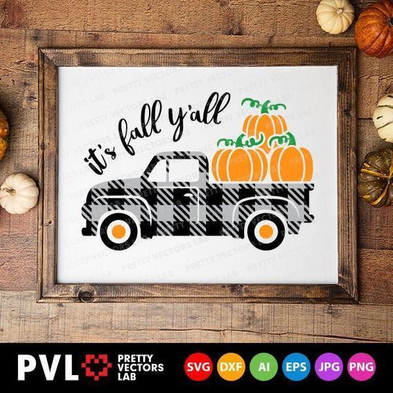 Plaid Pumpkin Truck Svg It S Fall Y All By Halloween S Shop On Zibbet