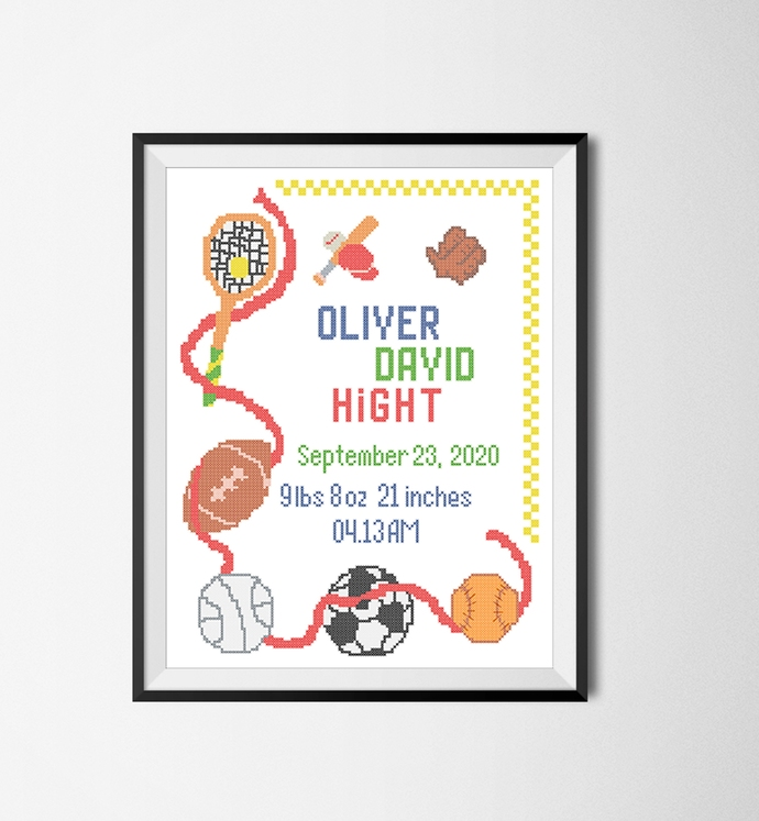 #579 Birth announcement Sport personalized order Modern Cross Stitch Pattern