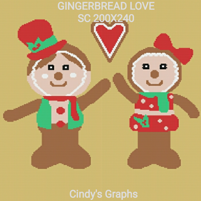 Ginger bread love SC includes graph with color block instructions