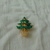 vintage SFJ signed green glitter clear crystals christmas tree pin