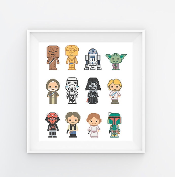 #577 Characters movie Space wars Modern Cross Stitch Pattern, galactic space
