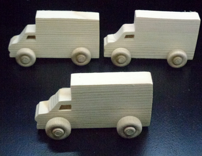 Pkg of 3 Handcrafted Wood Toy Cube Vans 391BH-U-3  unfinished or finished