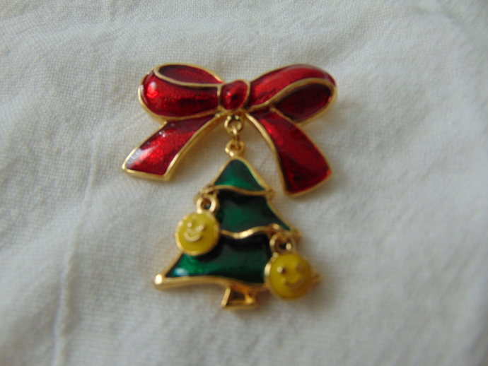 SFJ signed dangling christmas tree bow brooch smiley faces red green yellow gold