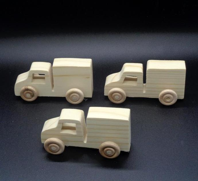 Pkg of 3 Handcrafted Wood Toy Trucks 331AH-U-3 unfinished or finished