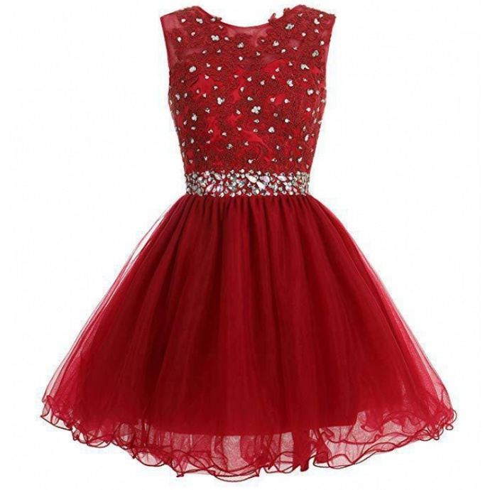 Wine Red Tulle Beaded Short Round Homecoming Dress, Lovely Red Prom Dress