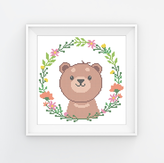 #575 Teddy bear animals Modern Cross Stitch Pattern Bear in a flower wreath