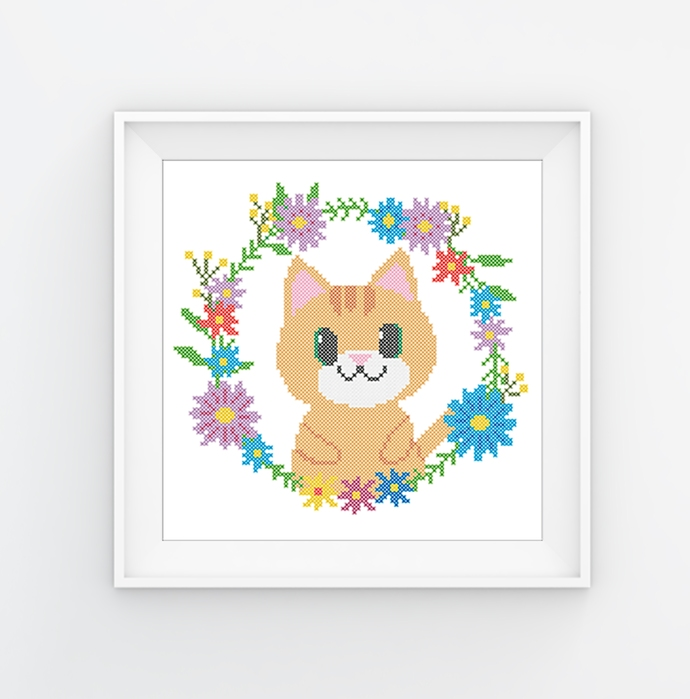 #574 Baby cat animals Modern Cross Stitch Pattern kitten in a flower wreath