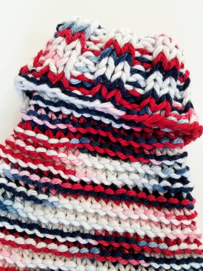 Red, White and Blue Multi-Colored Soft Comfortable Cotton Dog Sweater, Hand-Knit
