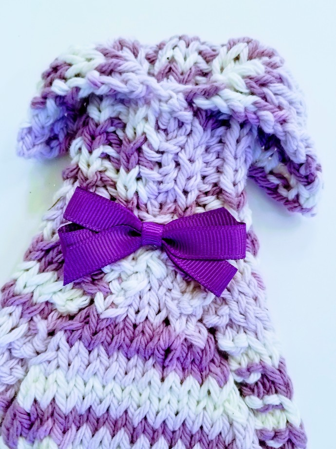 Variegated Purple and White Hand Knit Sweater, Teacup Dog, Chihuahua, Yorkie,