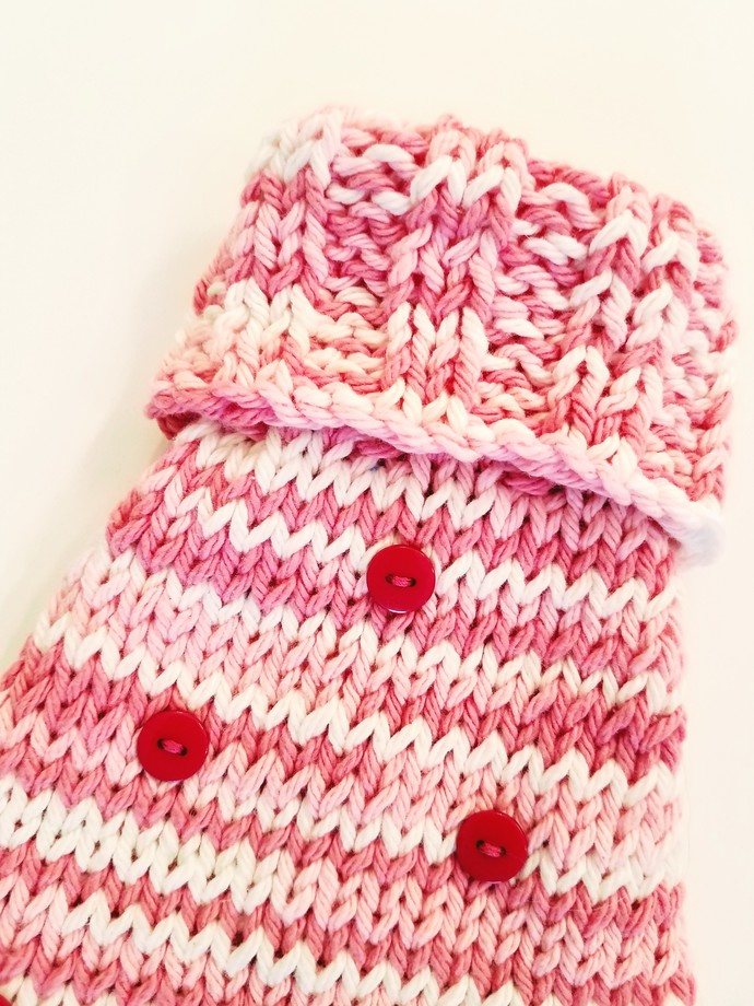 Pink Variegated Soft Comfortable Cotton Dog Sweater, Hand-Knit Cool Weather