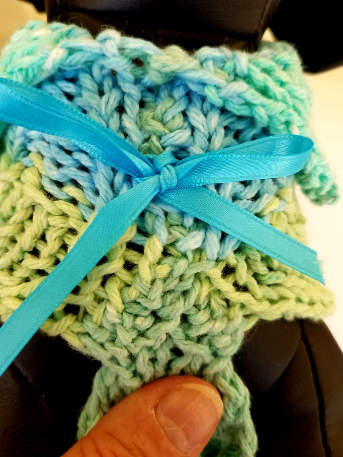 Blue/Green Ocean Colored, Variegated Cotton Sweater/Jacket, Small Dog Wear, Dog