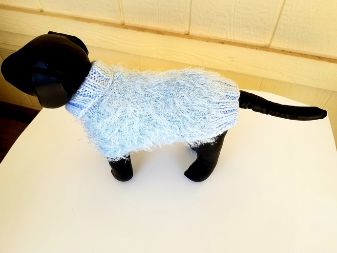 Fun Fur Sweater, Baby Blue Sweater, Cozy and Warm Dog Sweater, Stylish Cold