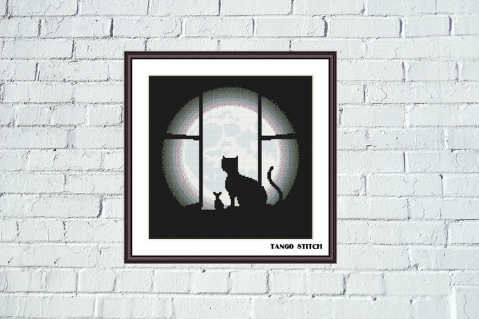 Black cat, mouse & moon funny cute animals cross stitch pattern