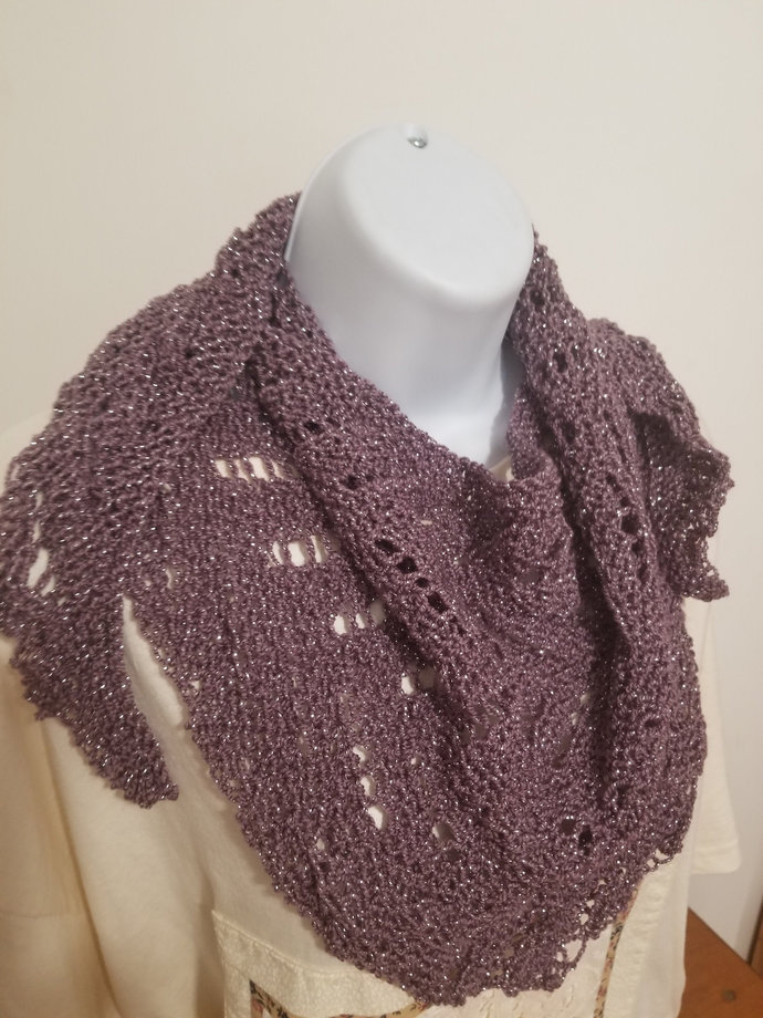 Lacy Triangle Scarf, Sparkly, Hand Knit, Purple