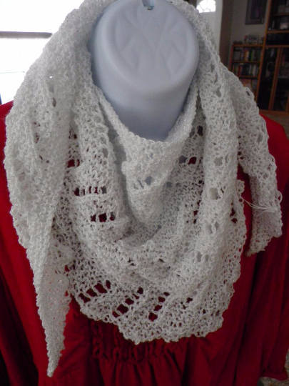 Sparkly, Hand Knit, Triangle Scarf, Lacy Light White