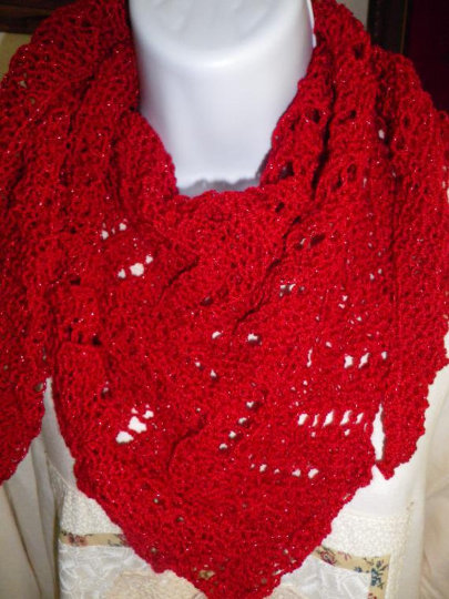 Sparkly, Hand Knit, Triangle Scarf, Lacy Red