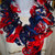Red, White and Blue Ruffled Scarf Free Shipping