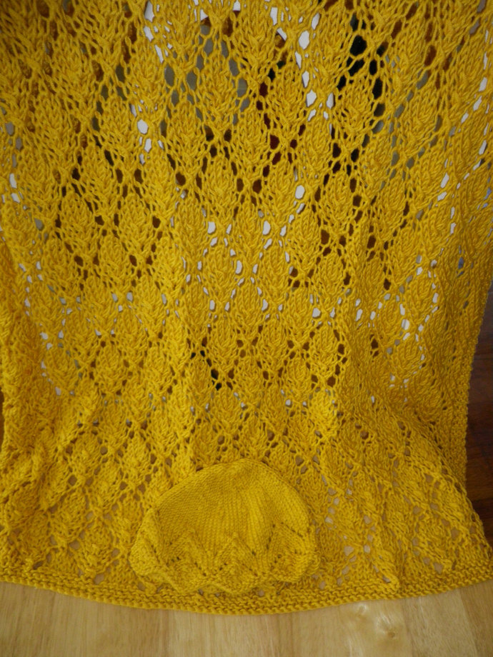 Golden Yellow Hand Knitted Baby Afghan and Hat in Cotton