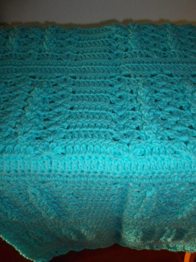 Popsicle Blue Crocheted Baby Afghan