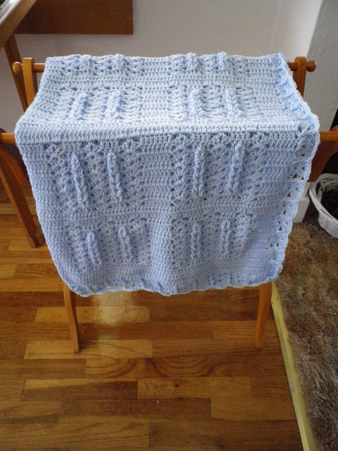 Light Blue Hand Crocheted Baby Afghan