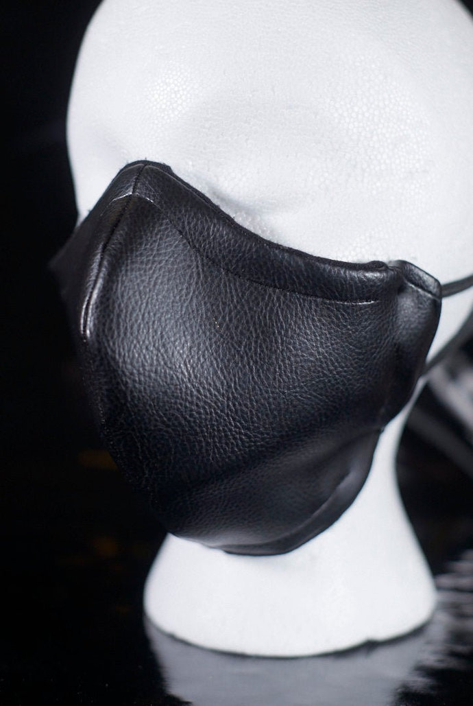 Black Leather 2-Layer Fitted Face Mask with Filter Pocket Fetish BDSM Punk