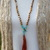 The Connection Necklace, Long Beaded Necklace, with Tassel, Brown & Blue, Autumn