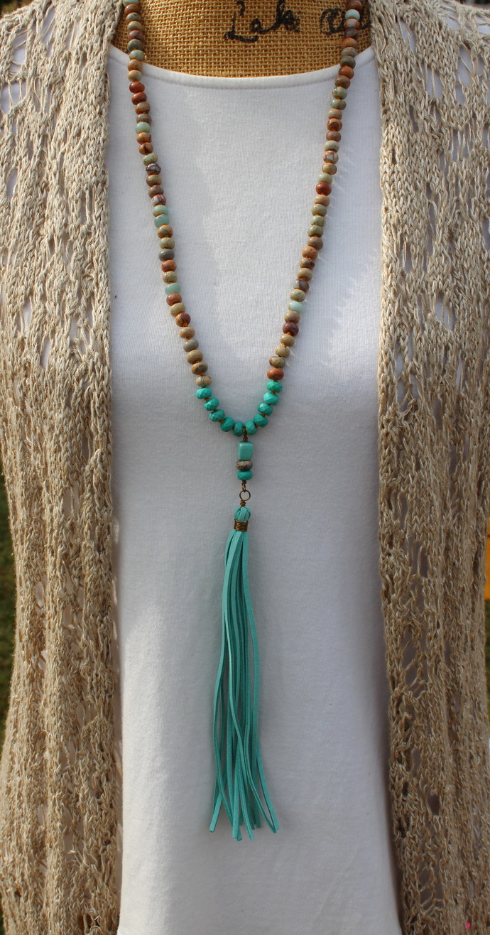 Long Beaded Necklace with Tassel, Autumn Colors, Jewelry gifts for her, The