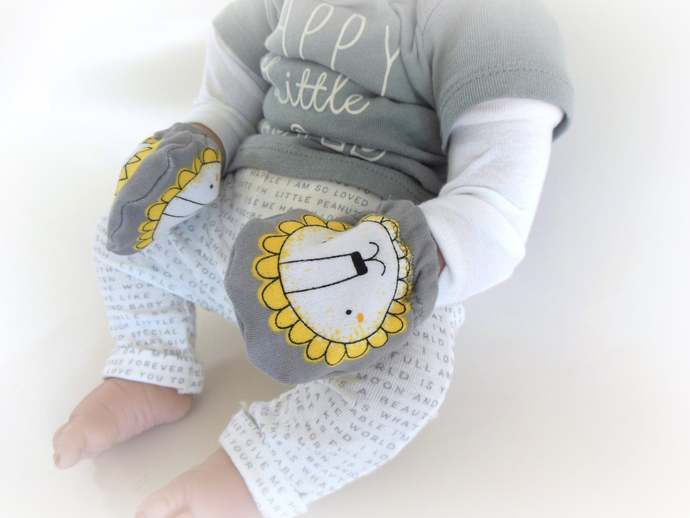 Gray Lion Swaddle Sack, Gray Lion Baby Scratch Mittens, Gray Lion Sleep Sack,