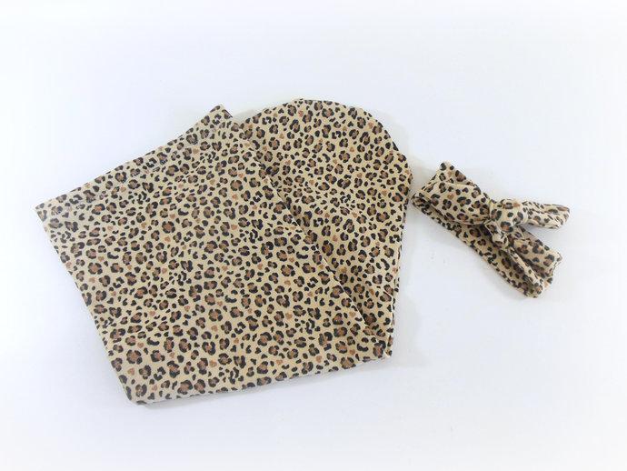 Cheetah Baby Swaddle Sack, Cheetah Baby Tie-Knot Headband, Cheetah Sleep Sack,