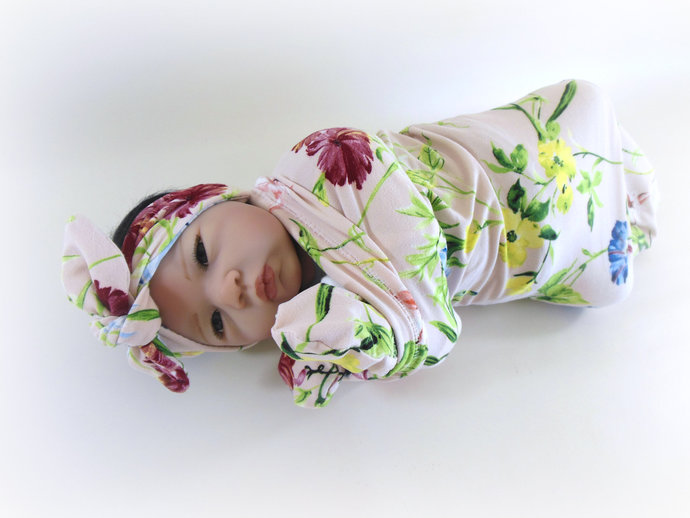 Pink Flower Swaddle Sack, Pink Flower Scratch Mittens, Pink Flower Baby Tie-Knot