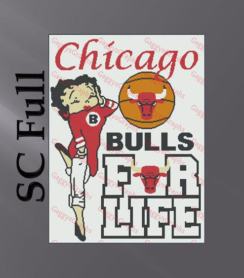 Betty Boop Chicago Bulls For Life SC 224X300, Graph, Written Instructions with