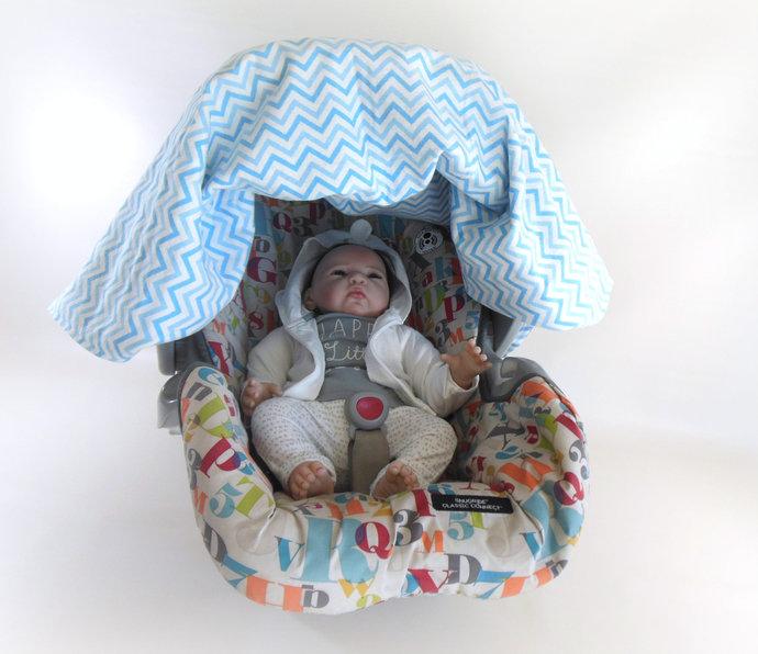 WINTER SALE 25% OFF Monkey & Blue Chevron Flannel Car Seat Canopy, Monkey Blue