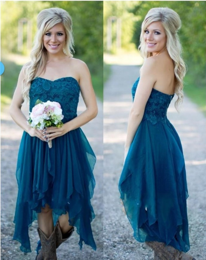 teal green bridesmaid dresses 2020 high low lace chiffon cheap custom wedding