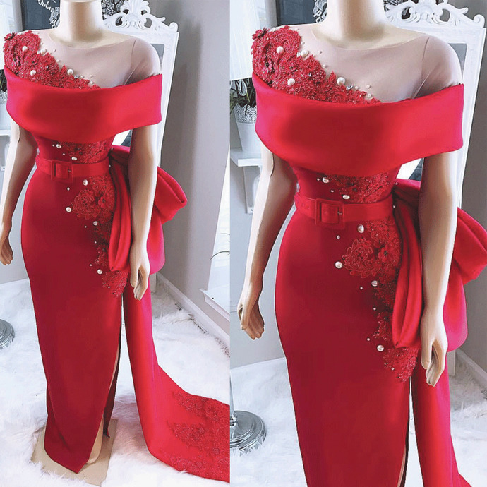 real photo red evening dresses elegant beaded lace applique mermaid formal