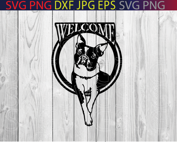 Boston Terrier Svg Welcome Dog Dxf Cut File By Le Design On Zibbet