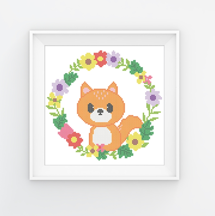 #572 Baby fox animals Modern Cross Stitch Pattern, fox in a flower wreath