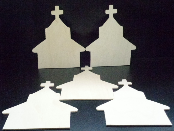 Pkg of 5 Churches Unfinished Wood Cutouts WCO-32-18