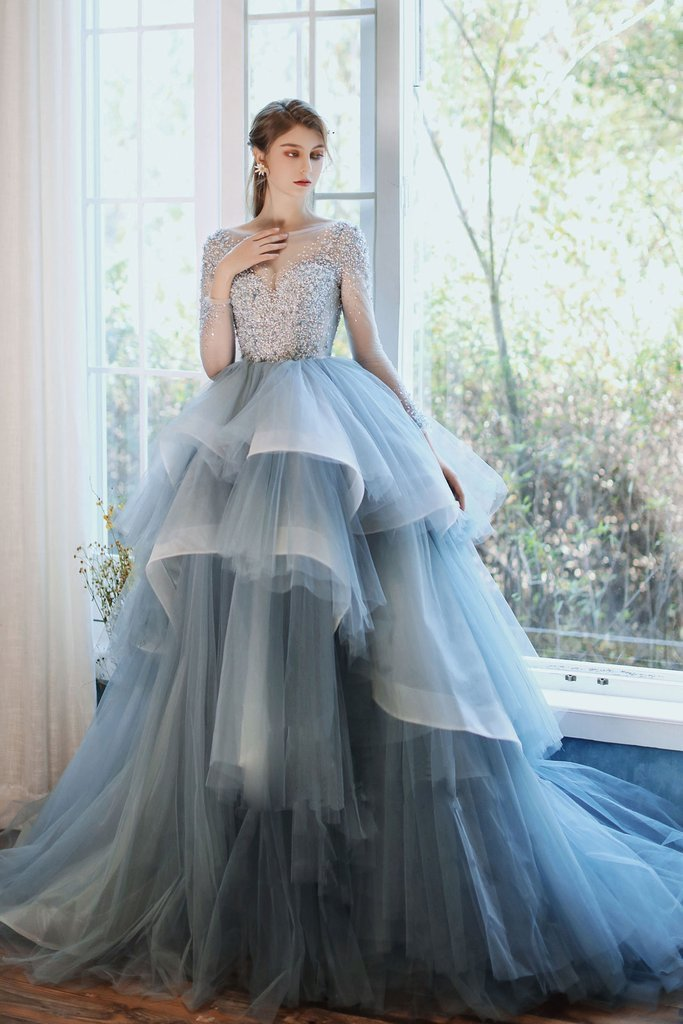 Custom Prom Dress,A-Line Prom Gown,O-Neck Evening Dress,Beading Prom Gown 0246