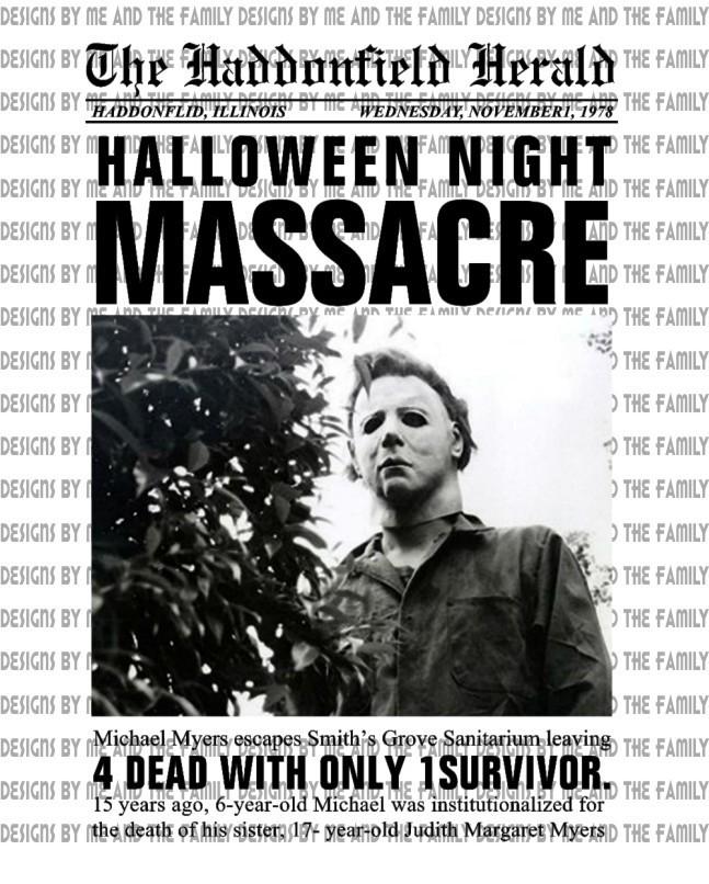 The Haddonfield Herald Halloween night massacre, vintage horror, Michael Myers,
