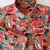 Red Floral Blast Shirt Long Sleeve. All Cotton  Color Print. Quality Hand
