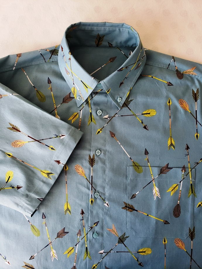 Arrows Shirt.  Short Sleeve. All Cotton Print. Quality Hand Crafted. Button up.