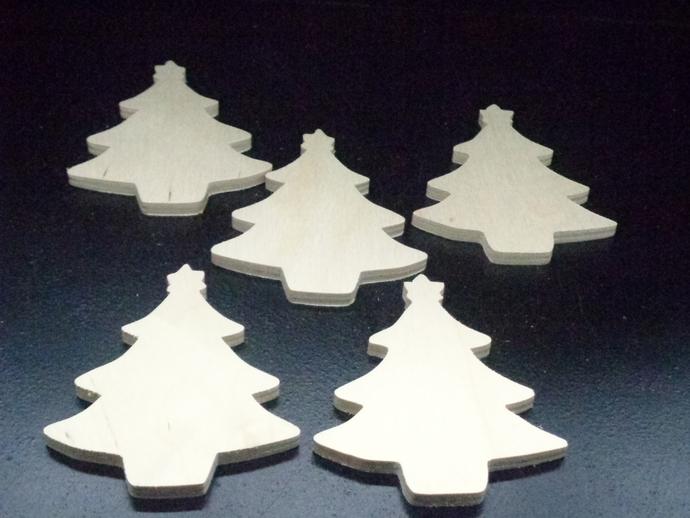 Pkg of 5  Christmas Tree Unfinished Wood Cutouts WCO-13-25