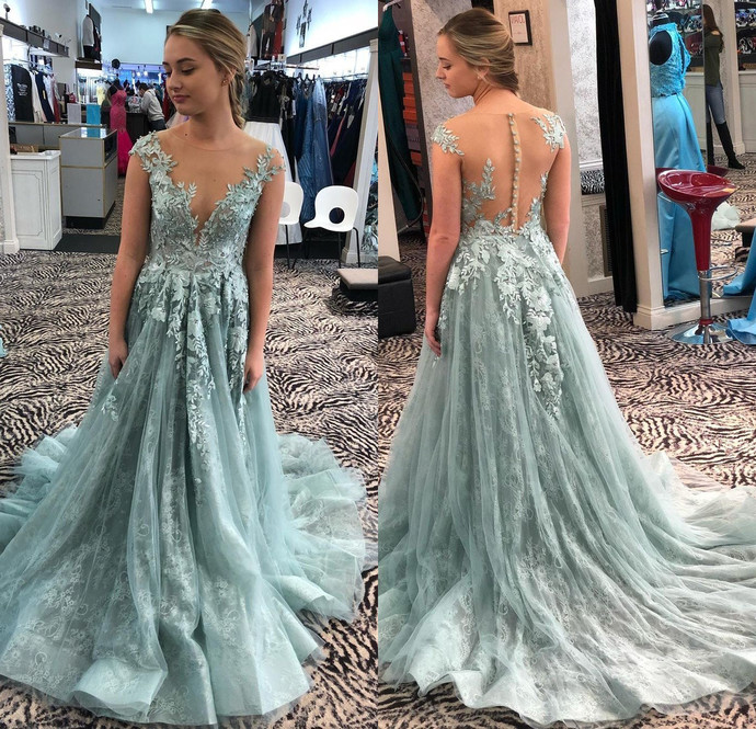 Custom Prom Dress,A-Line Prom Gown,O-Neck Evening Dress,Appliques Prom Gown 0247
