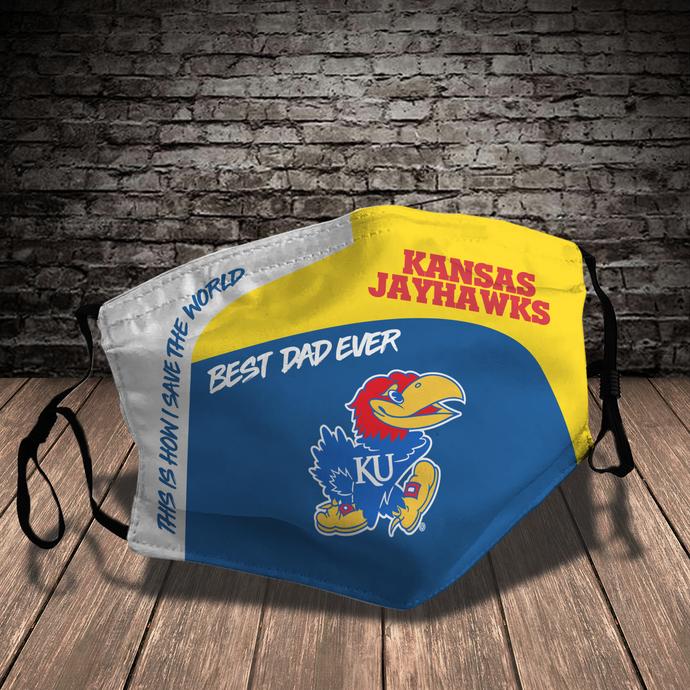 Kansas Jayhawks Style 7 face Mask Washable, Adjustable, Reusable Face Mask