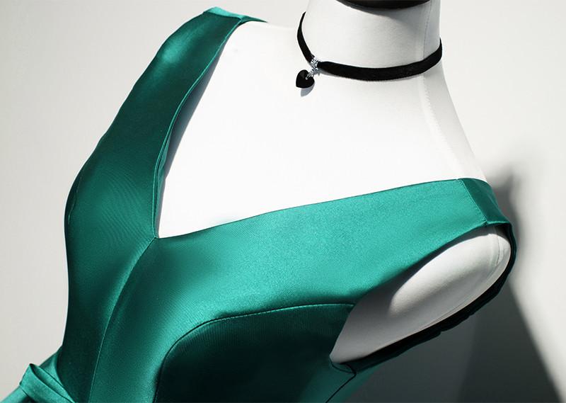 Green Satin Knee Length V-neckline Bridesmaid Dress, Green Short Party Dress