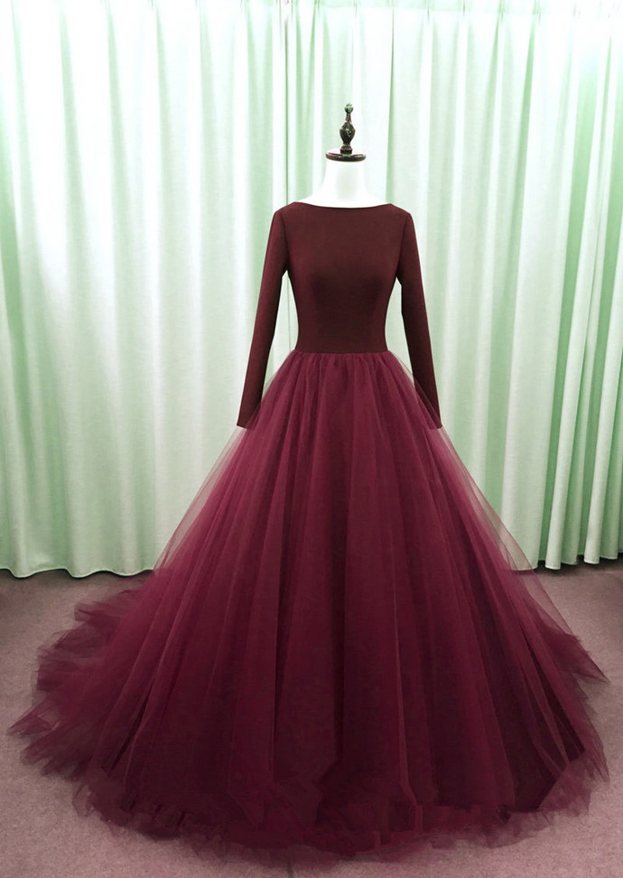 Wine Red Long Sleeves V Back Tulle Party Dress, Evening Gown 2021