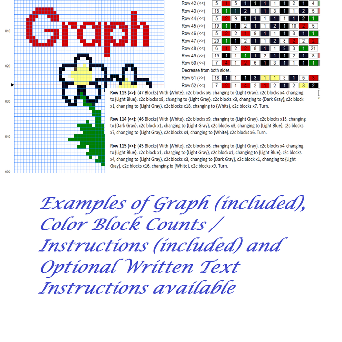 Gray Alien C2C Crochet Pattern Halloween Panel Graph w/ Color Block Directions