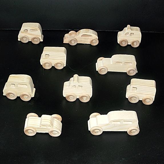 10 Handcrafted Wood Toy Vans, Police Vans, Cars   OT-20  unfinished or finished